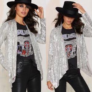 Nasty Gal All That Sparkles Sequin Jacket Metallic